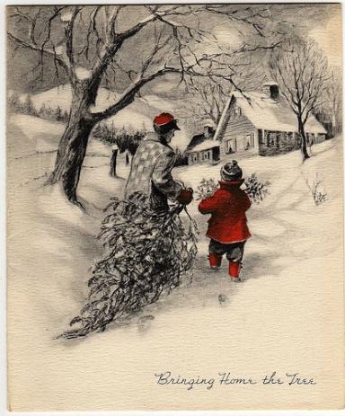 Vintage-christmas-card-bringing-home-the-tree